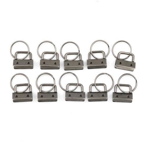 10Pcs Key Fob Hardware keychain Split Ring Wrist Wristlets Cotton Tail Clip—AY