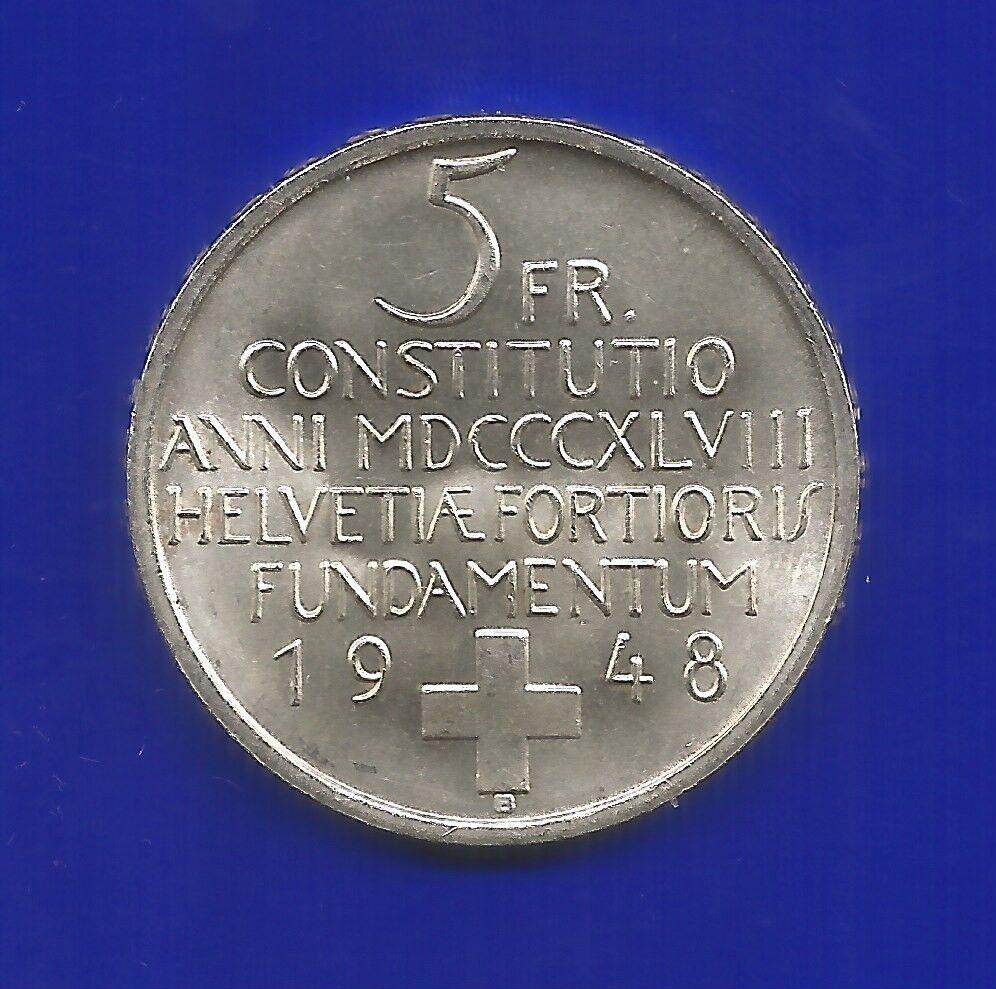 5 Franken Silber Münze Schweiz 1948 B Stempelglanz Ebay