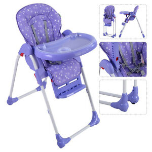 adjustable baby high chair infant toddler feeding booster seat folding purple. Black Bedroom Furniture Sets. Home Design Ideas
