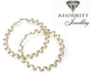 Shiny gold colour twist design hoop earring 30015 UK SELLER