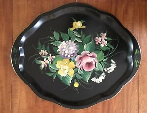 Vintage-Hand-Painted-Floral-Tole-Tray-By-Pilgrim-Art-For-G-Fox-Co