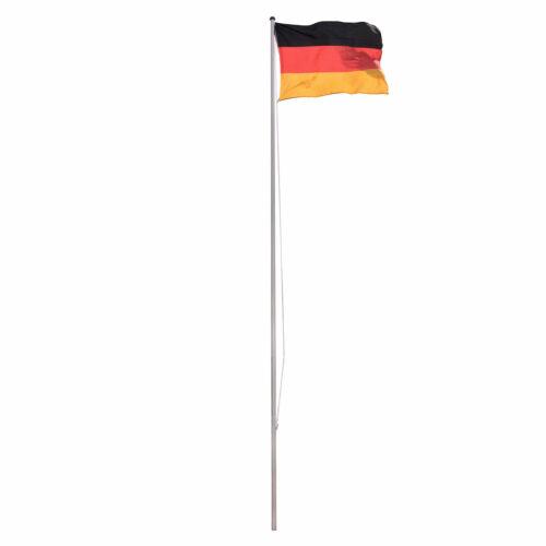 Fahnenmast Flaggenmast Fahnenstange Aluminium mit Deutschland Flagge, Bodenhülse
