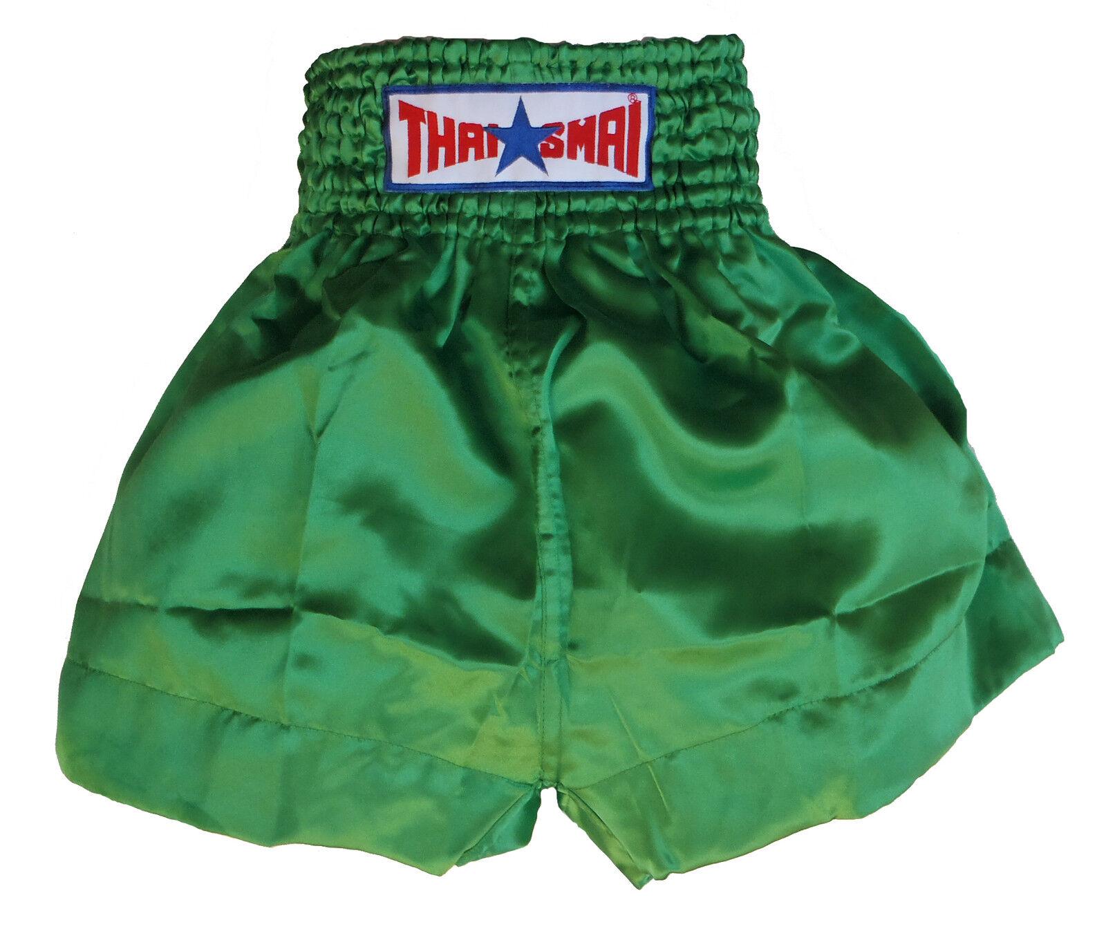 Short boxe Thaïlandaise / THAISMAI Muay Thai THAISMAI / satin vert toutes tailles ae655a
