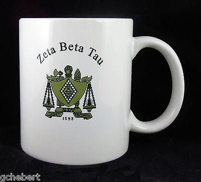 Zeta Beta Tau, ΖΒΤ, Coffee Mug Cup Crest 2 Sides White Porcelain By McCartney