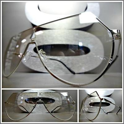 OVERSIZED VINTAGE RETRO SHIELD Style Clear Lens EYE GLASSES Silver Fashion Frame
