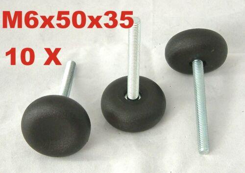 10x M6x50x35 mm Verstellfuß schraube Möbelfuß Stellschraube Stellteller Stellfuß