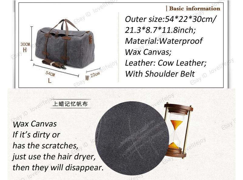 Original Wax Canvas Canvas Sports Travel Luggage Shoulder Bag Overnight Bag  Weekend Duffle ... 9e88200ce791d