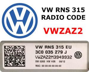 Details about VW Volkswagen Radio Code Unlock Stereo Codes VW RNS 310 315  VWZAZ2