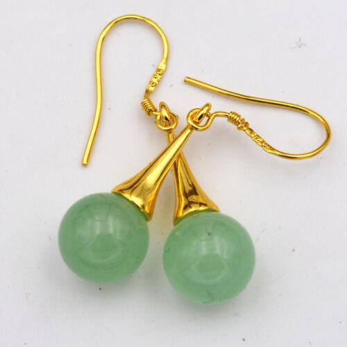 Beautiful Natural Emerald Gemstone 925 Silver Gold-plated//Dangle Earrings
