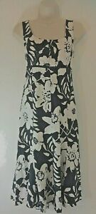 M-amp-S-Per-Una-Linen-Midi-Dress-Floral-Black-White-Sleeveless-UK-10-Summer-Smart