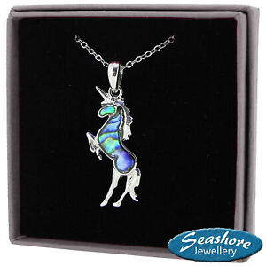 Unicorn-Necklace-Paua-Abalone-Shell-Pendant-Silver-Fashion-Jewellery-18-034-45cm