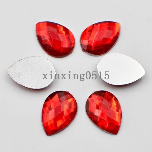 Shiny 20 Pcs 13mm*18mm resin drop Flatback Rhinestone wedding buttons DIY crafts