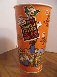 Burger King - The Simpsons -  32 oz. Paper Cup - New - Pointless Trivia - 2002