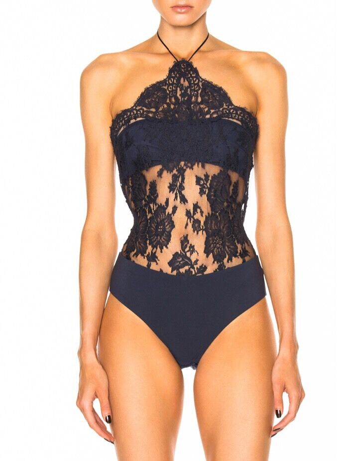 La Perla Freesia Bodysuit Size 10 In Dark bluee