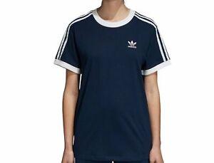 Adidas-Originals-3-Rayures-T-Shirt-Taille-UK-8-marine-fonce-BNWT-2-dernier