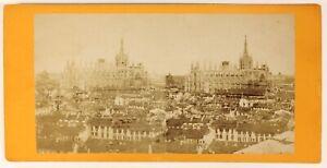 Milan Panorama Con La Cattedrale Italia Foto Stereo PL55L4n Vintage Albumina
