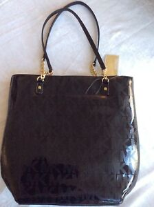 NWT MICHAEL KORS JET SET NS CHAIN TOTE BLACK PATENT LEATHER PURSE ... 2c5a49442af6