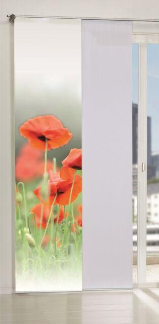 Schiebegardine blickdicht Digitaldruck Mohnblüte rot  60cm x 245cm