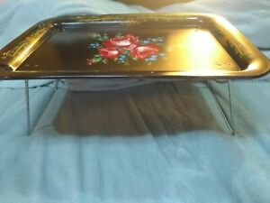 Vintage Metal TV Lap Tray Folding Legs Floral Flowers  Bed Food