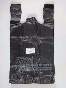 Black-11-5-034-x-6-5-034-x-22-034-Plastic-1-6-T-Shirt-Bags-with-Handles-Retail-Shopping-Bag