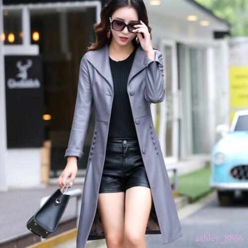2019 Faux Kvinders Lepal Slim Coats Leather Jackets Trench Long Fritid Bælte Toppe FPwF6dqx