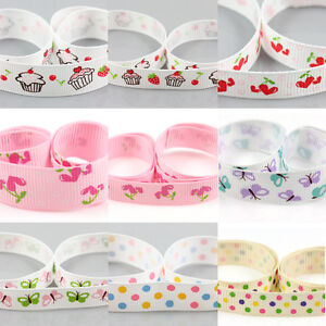 GROSGRAIN-RIBBON-10-16mm-VARIOUS-DESIGN-CUPCAKE-CHERRY-POLKA-DOT-BUTTERFLY-DUMMY