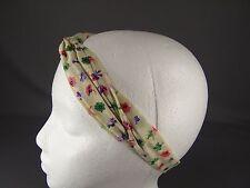 Cream floral flowers wired long tie wrap turban twist fabric headband head scarf