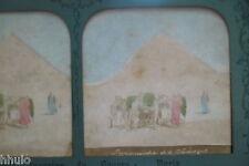 STA883 EGYPTE Pyramide Keops Transparent couleurs Albumen STEREO Photo