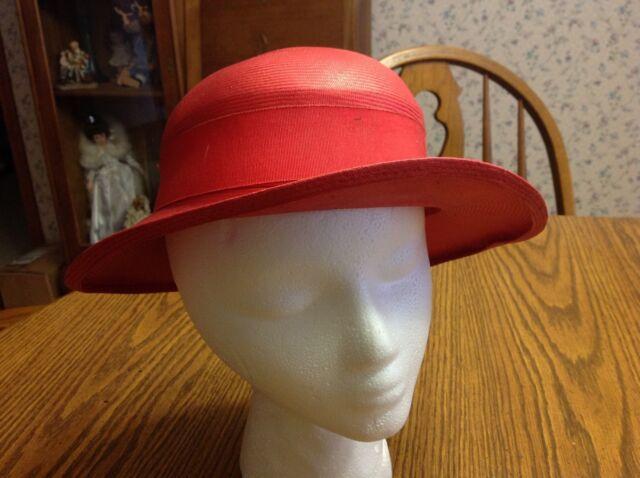Vintage Ladies Hat Red Straw Hat With Black Ribbon  ee4554d9bad