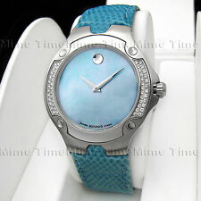 Women Movado SPORTS EDITION SE Diamond Turquoise Blue MOP Pearl Dial 0604734