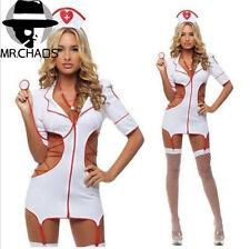5Pcs Set Sexy Lingerie Nurse Costume Adult Women Halloween Outfit Fancy Dress