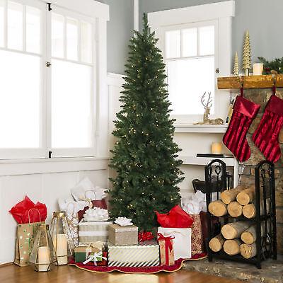 Skinny Christmas Tree.6 5ft Skinny Pre Lit Hinged Artificial Fake Fir Christmas Tree 250 Lights Stand Ebay