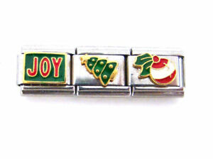 Stainless-Steel-9MM-Italian-Charms-3-Holiday-Link-Charms-JOY-Tree-Bulb