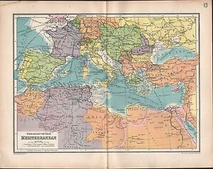 1903 Map Basin Of The Mediterranean Morocco Italy Asia Minor