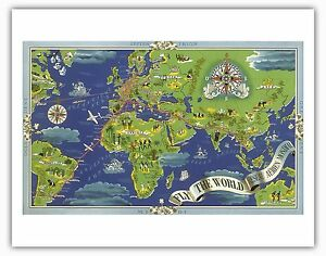 Air france world map boucher 1950 vintage airline travel poster image is loading air france world map boucher 1950 vintage airline gumiabroncs Images