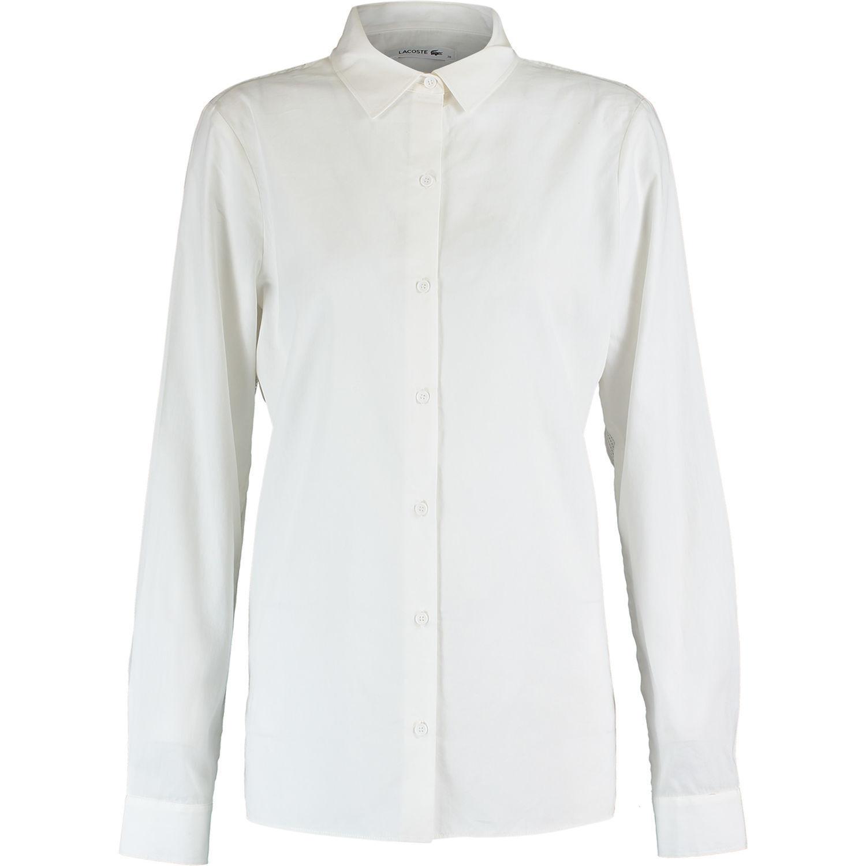LACOSTE Women's White Shirt, Cotton & Silk Mix, size   FR 42 44