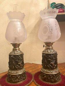2 Antique French Breveté SGDG 1870-1900's Bronze Brass Copper Kerosene Oil Lamps