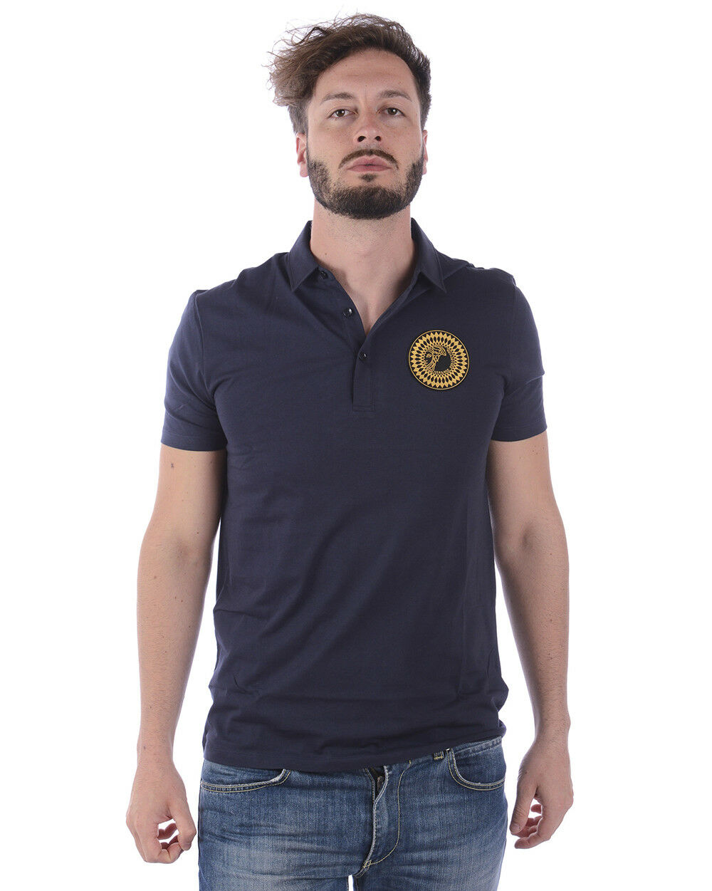 Polo Versace Collection Shirt Cotone Uomo Blu V800753SVJ00180 V1145