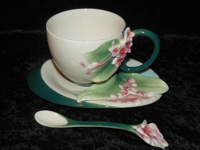 Franz Collection Porzellan Tasse Unterteller Löffel Blaume OVP
