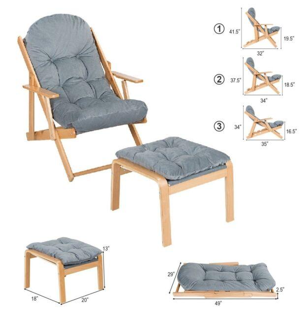 Phenomenal Lounge Chair Indoor Outdoor Foldable Recliner With Footrest Ottoman Accent Chair Spiritservingveterans Wood Chair Design Ideas Spiritservingveteransorg