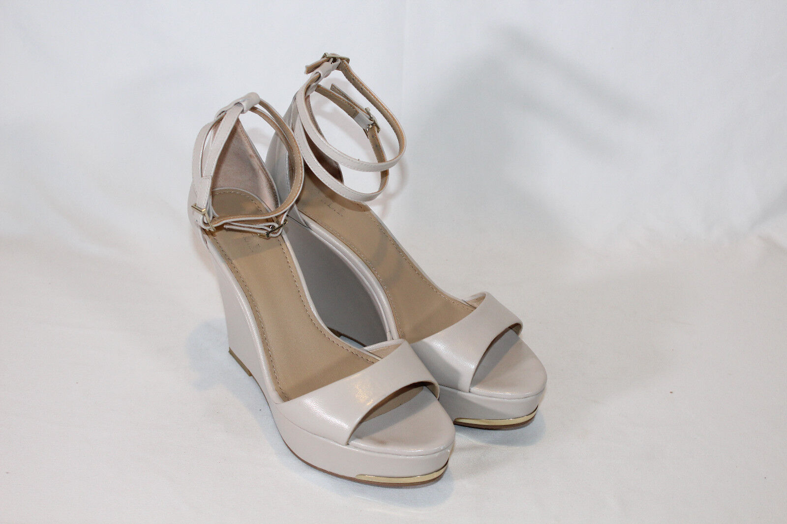 G.I.L.I. Leather Ankle Strap Wedges - Avery 8 medium dune color