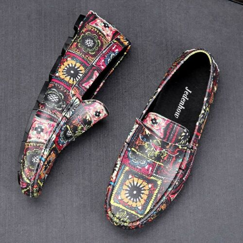 Mens Casual Loafers Driver shoes Printing Floral Moccasin Gommino Leather 2019