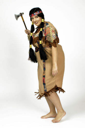 Indianer Damen Kostüm Indianerin Kleid gr Squaw 3 tlg 36-54