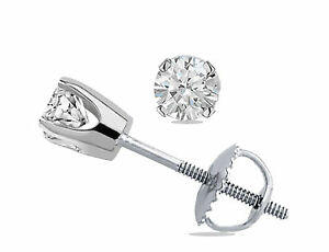 .20 Ct Brilliant Round Cut Solitaire Stud Earrings 14K White Gold Screwback USA