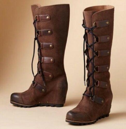 Sorel Joan of Arctic Brown  Suede Tall Wedge Boot