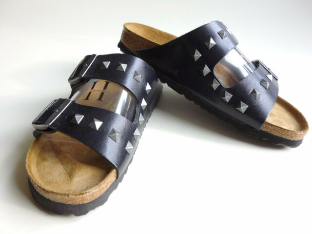 new BIRKENSTOCK Leather Sandal Slide ARIZONA Pyramids studded Black US7 EU38 UK5