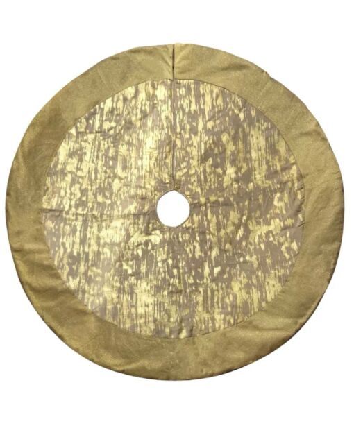 New Holiday Living 56 In Round Gold Ivory Christmas Tree Skirt