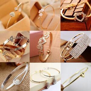 Women-Fashion-Gold-Silver-Rhinestone-Crystal-Bangle-Cuff-Bracelet-Jewelry-Gift