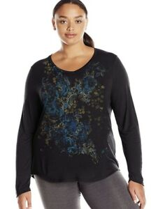 Just-My-Size-JMS-Plus-Size-Black-Tee-Shirt-Long-Sleeve-Top-1X-2X-3X-4X-5X