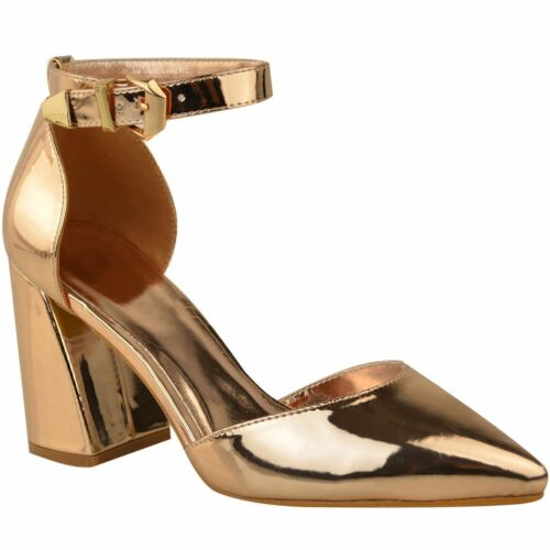 Womens Ladies Ankle Strap Mid High Block Heel Pointy Toe Sandals Court Shoe Size